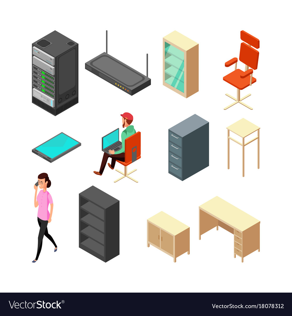 Set of office isometric icons server armchair