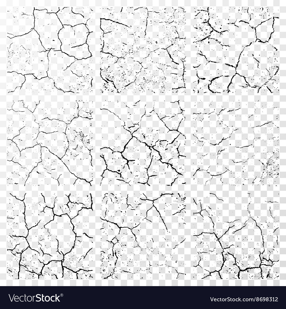 Set of realistic wall cracks isolated on white vector image
