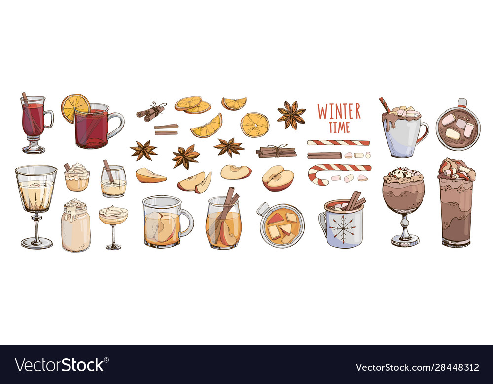 Set popular hot winter drinks with spices