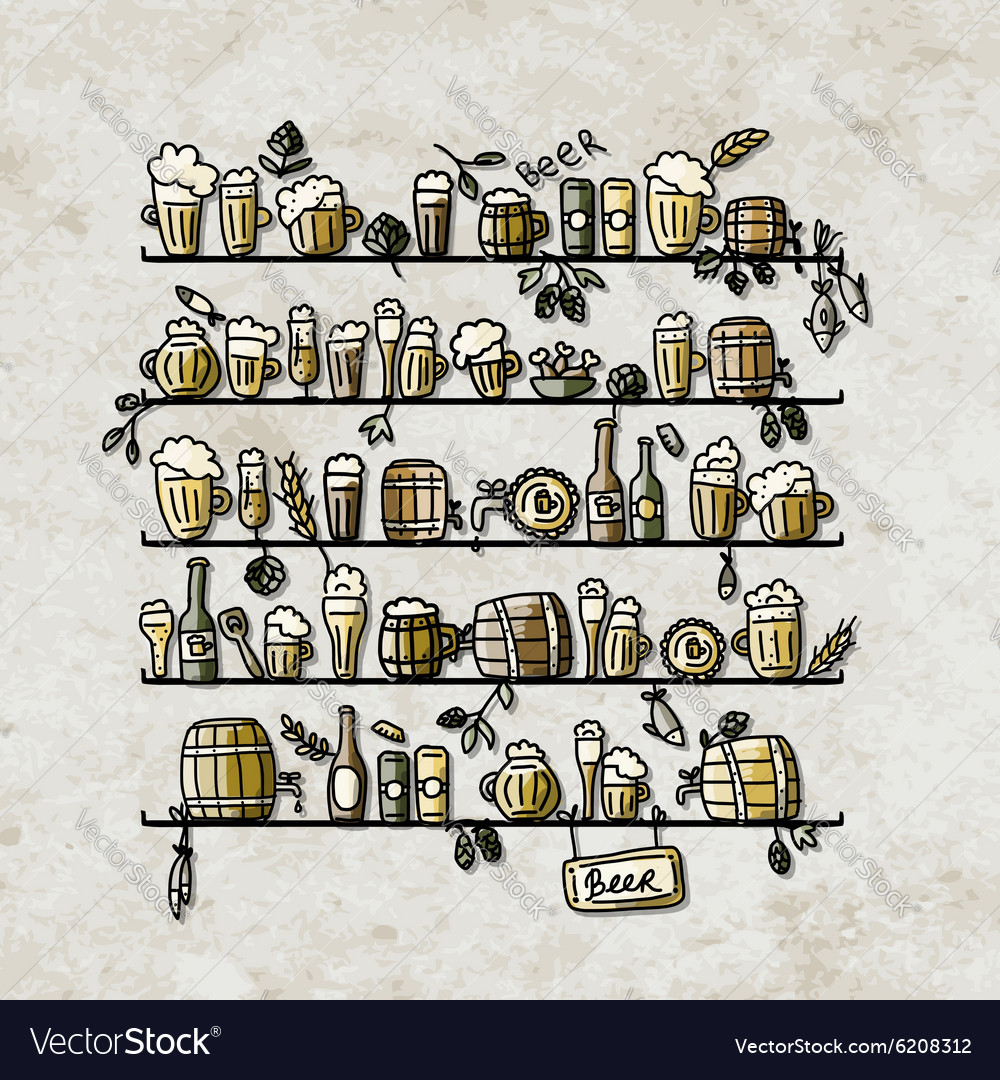 Shelves with beer sketch for your design