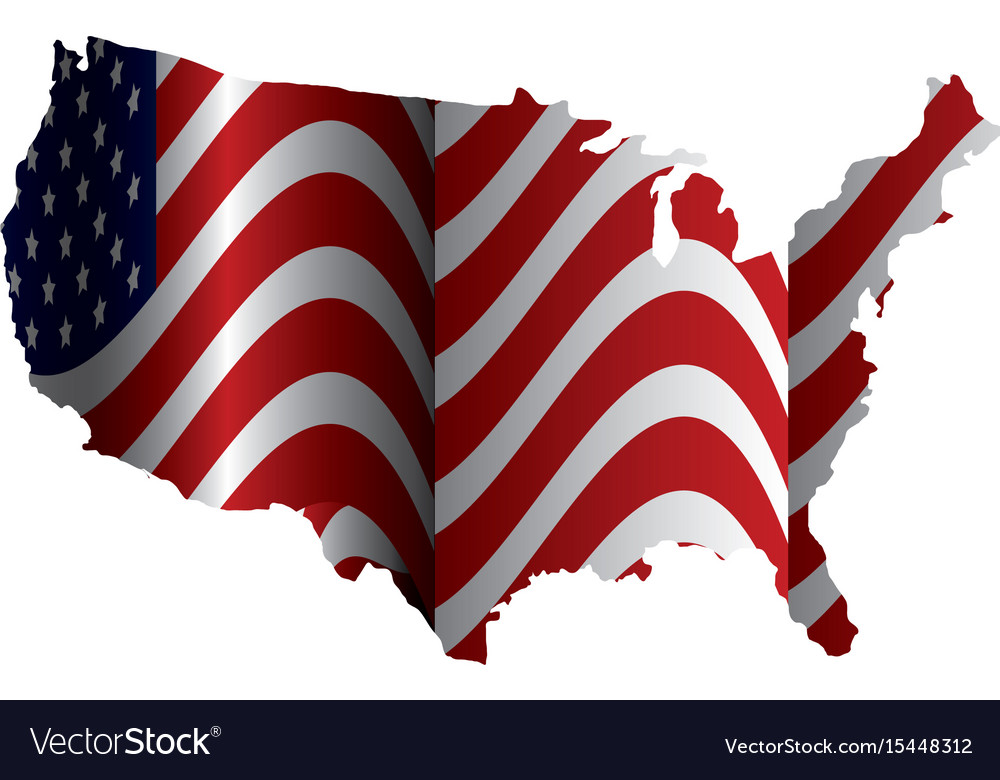 United states of asmerica map with flag Royalty Free Vector