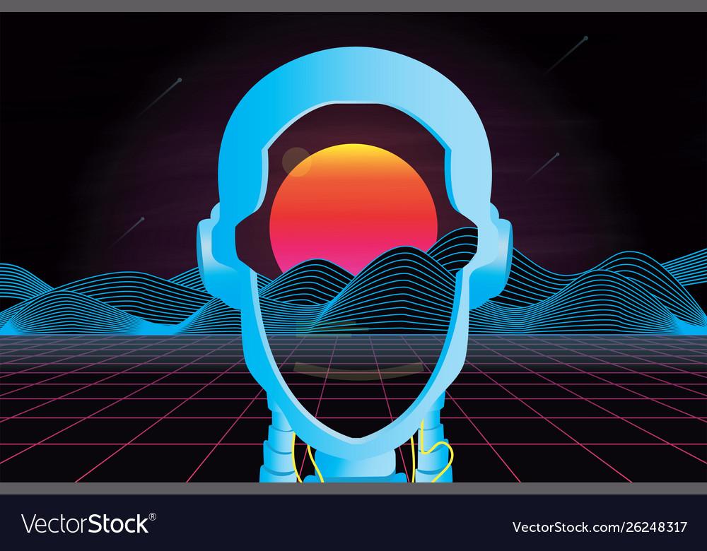 80s futuristic retro landscape with robot head