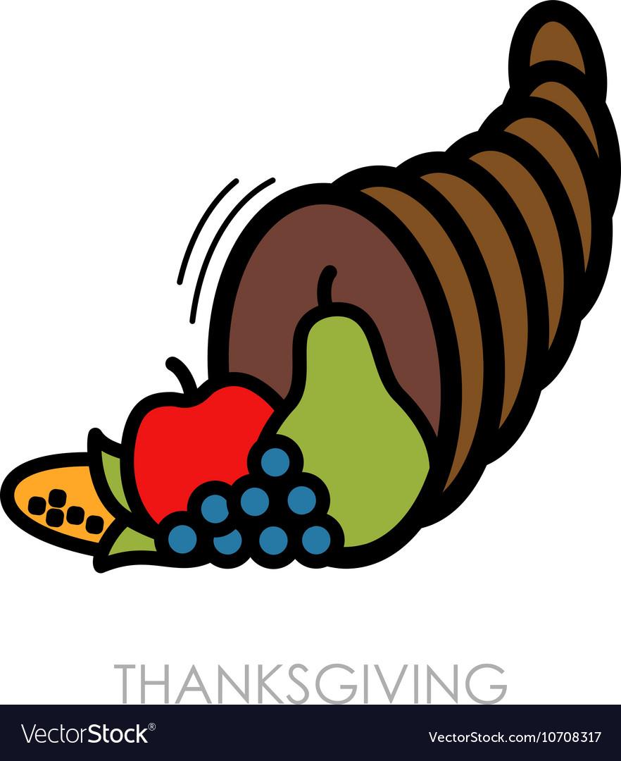 Autumn cornucopia icon Harvest Thanksgiving