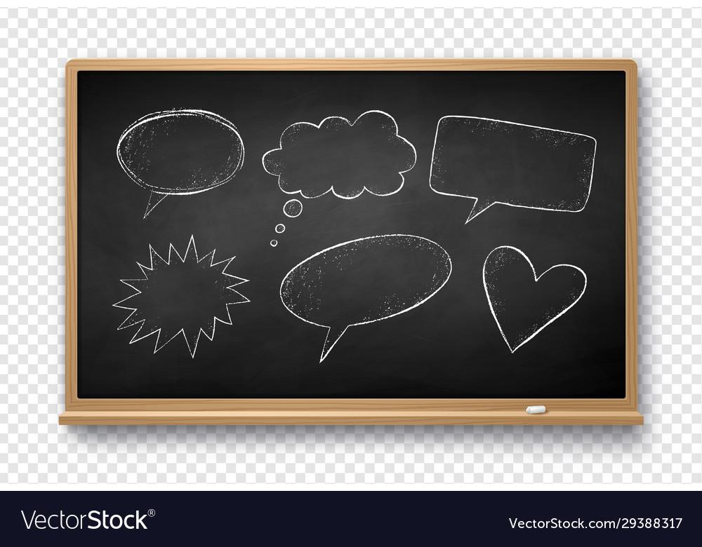 Chalked speech bubbles on school board