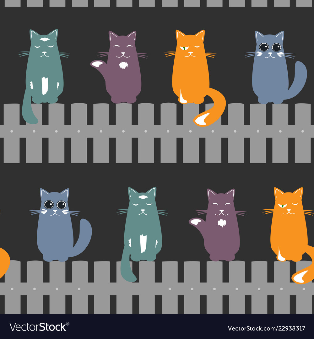 Cute seamless pattern background with cats seating