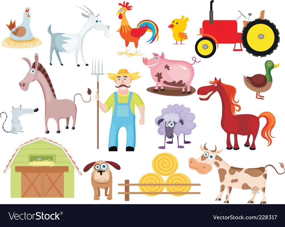 Farm set vector image