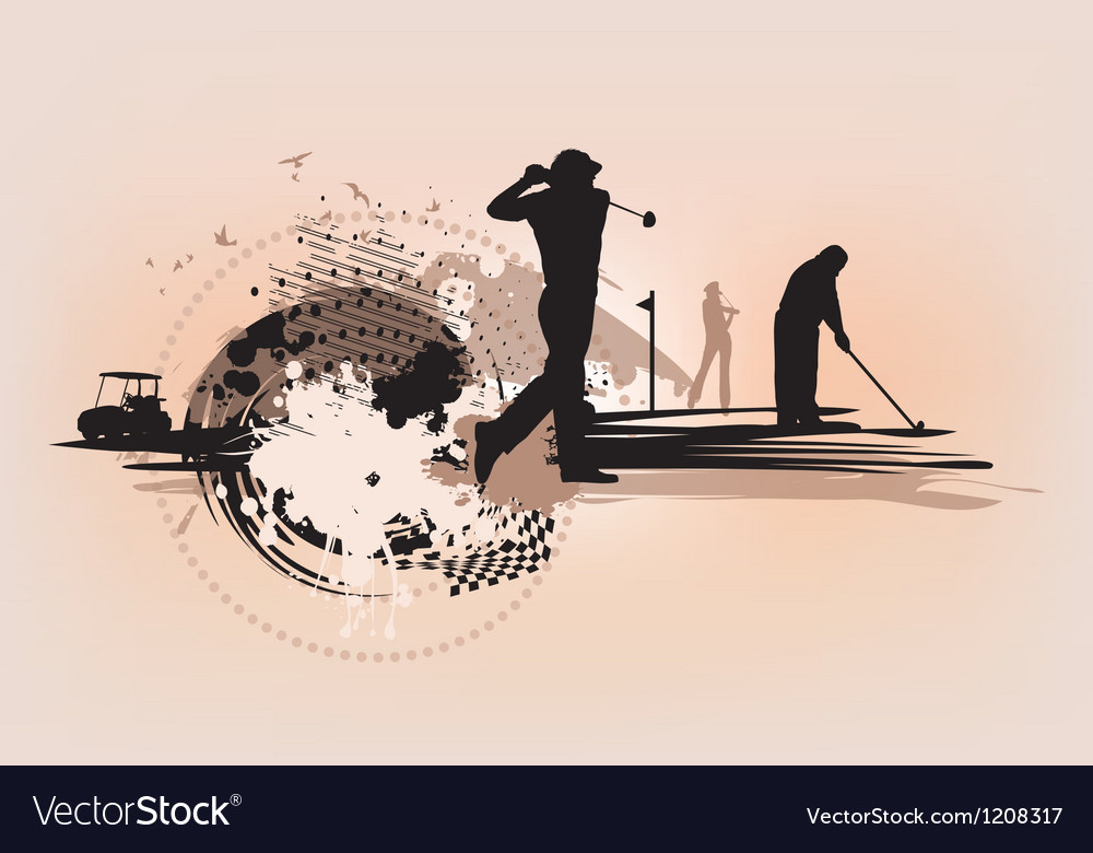 Golf design elements on blot background vector image
