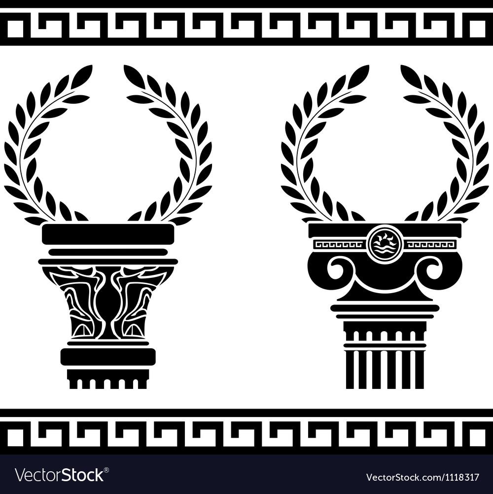 Greek columns with wreaths stencil