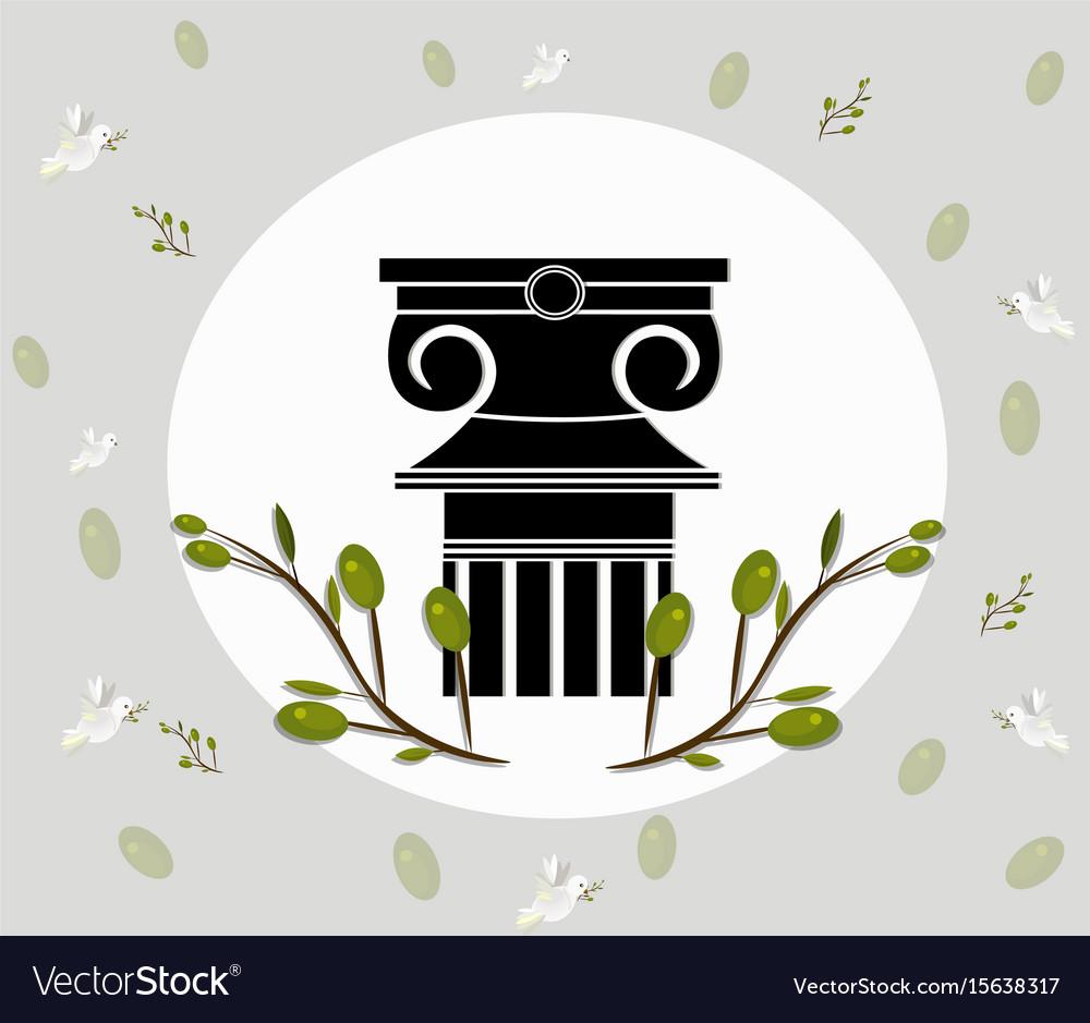 Greek ionic columns order vintage design with vector image