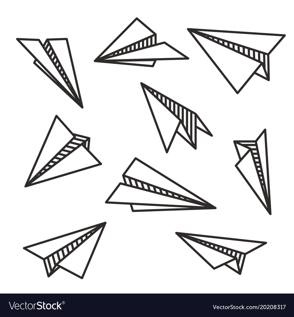 Isolated various paper planes black outline flying