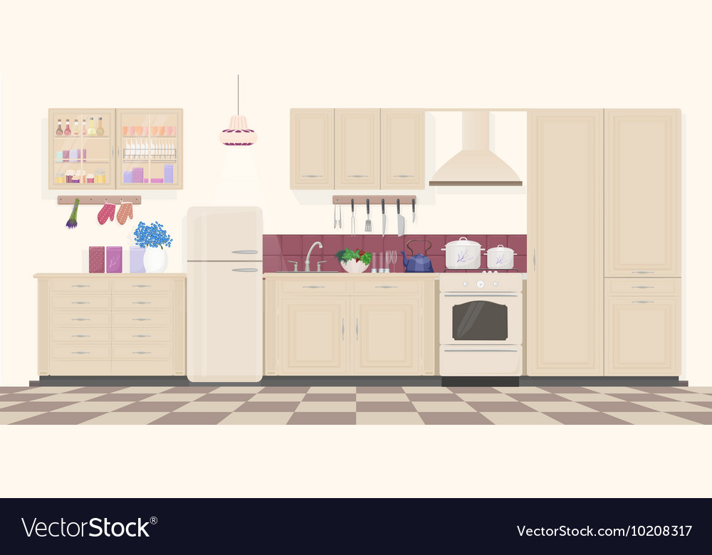 Modern Classic Vintage Kitchen Interior With Vector Image