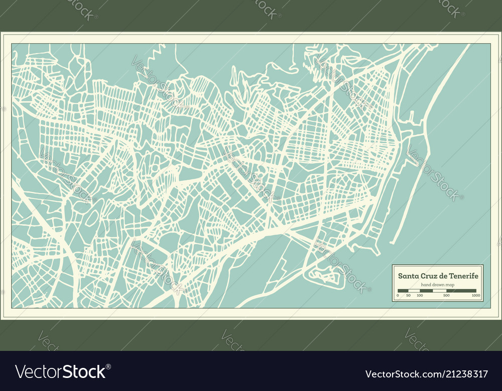 Map Of Spain Tenerife.Santa Cruz De Tenerife Spain City Map In Retro