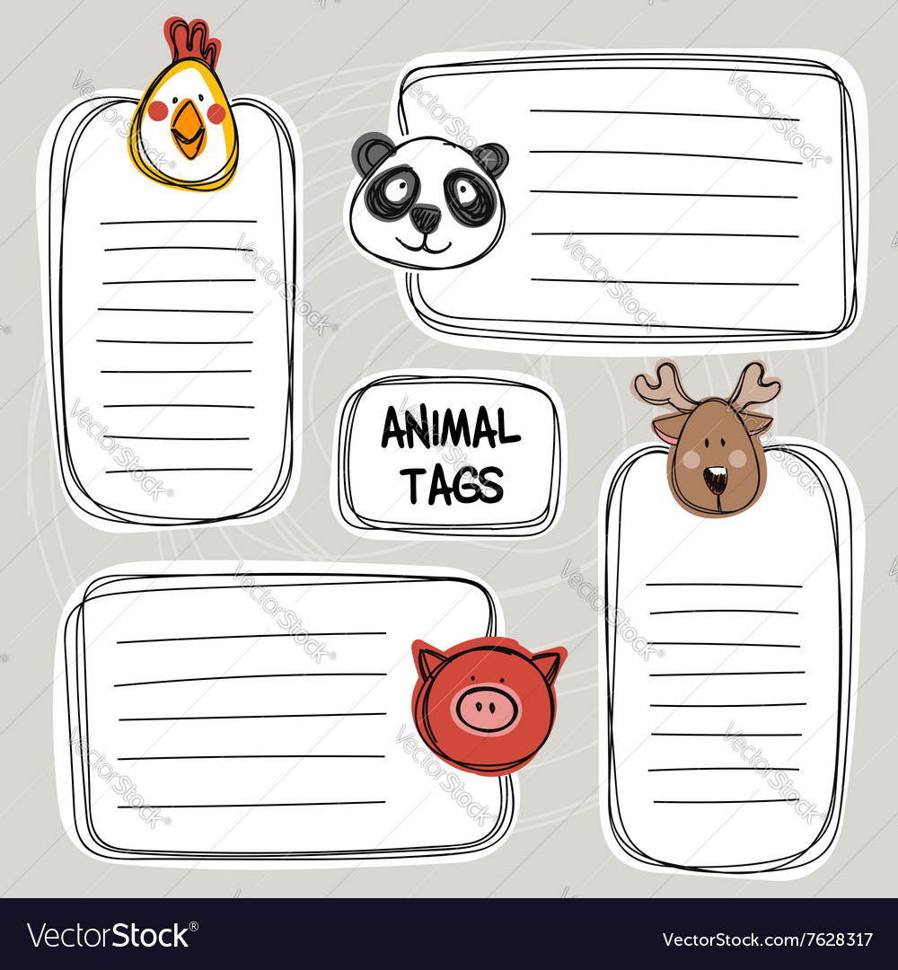 Set of hand drawn funny doodle tags with animals