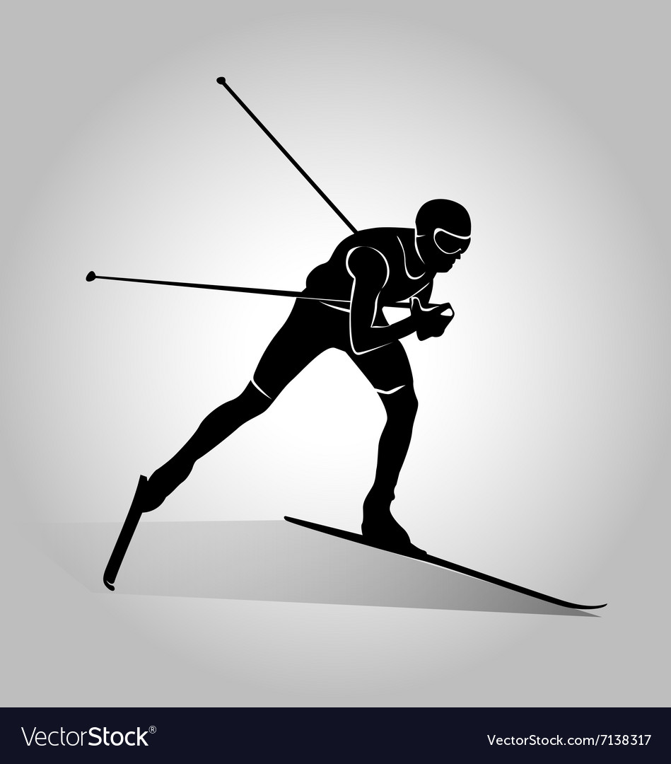 Silhouette of cross-country skiing