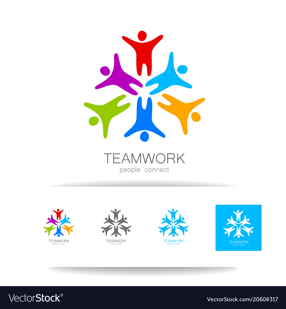 Teamwork people connect design template Royalty Free Vector
