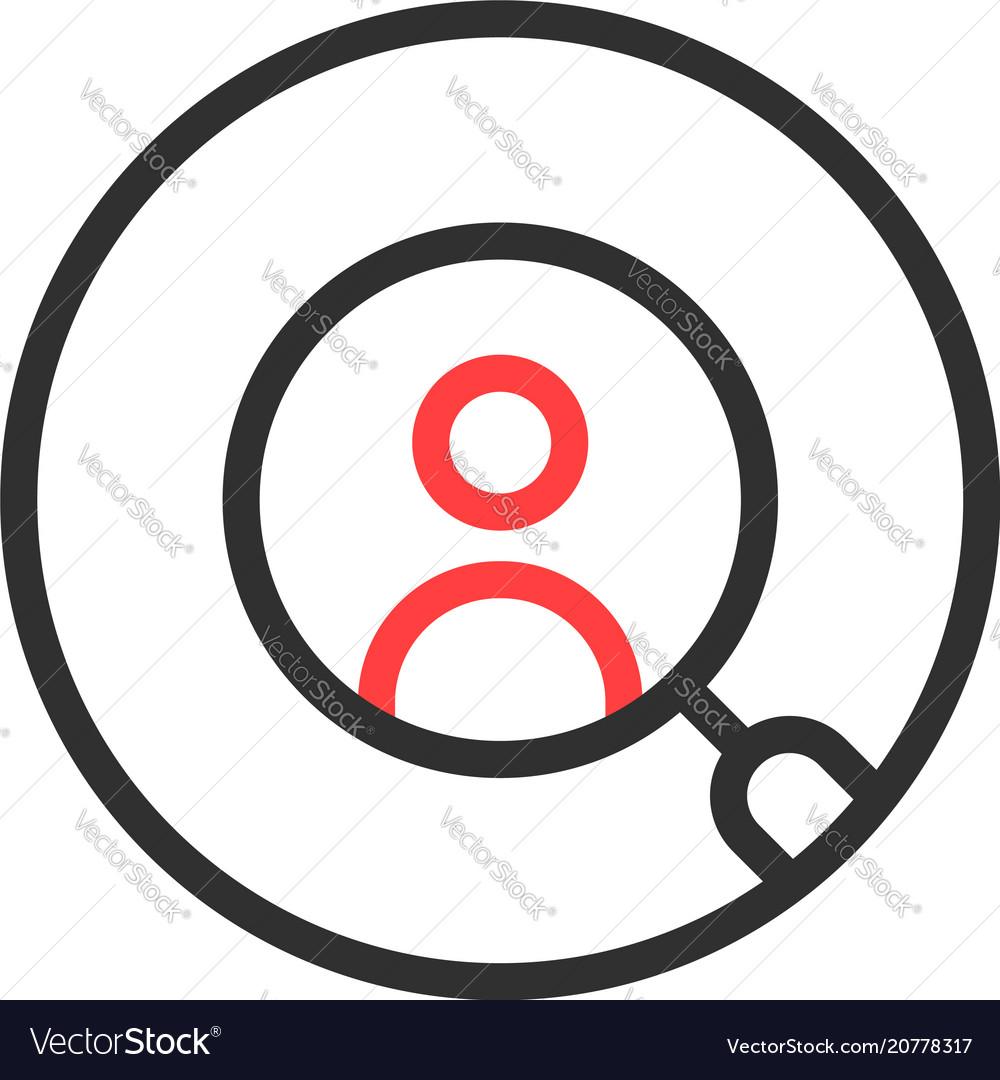 Thin line round recruitment logo isolated on white