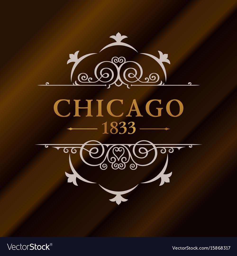 Vintage gold hipster label with lettering chicago