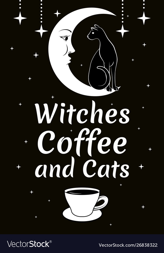 Black cat on moon stars coffee cup witches
