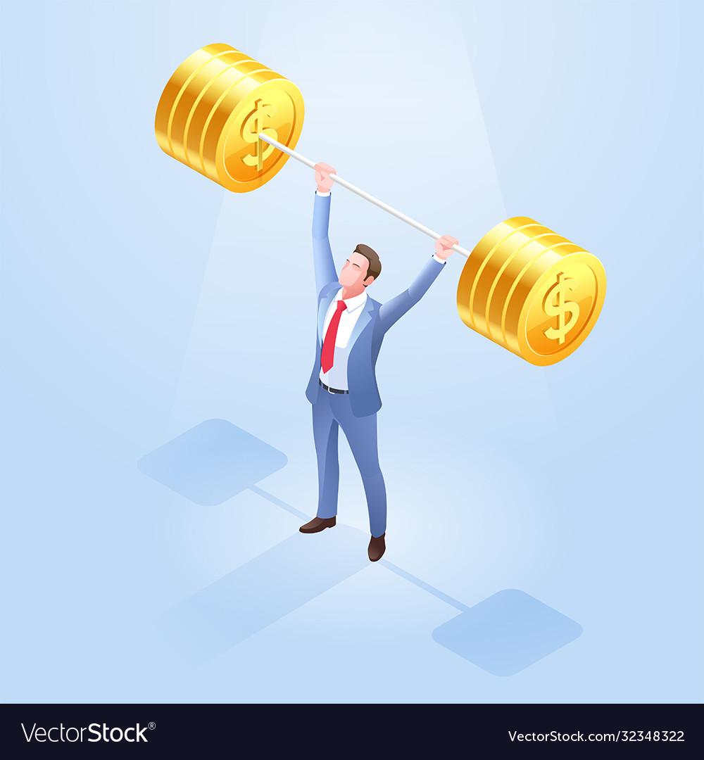 Business men lifting weights