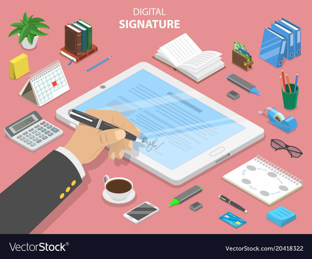 Digital signature flat isometric concept