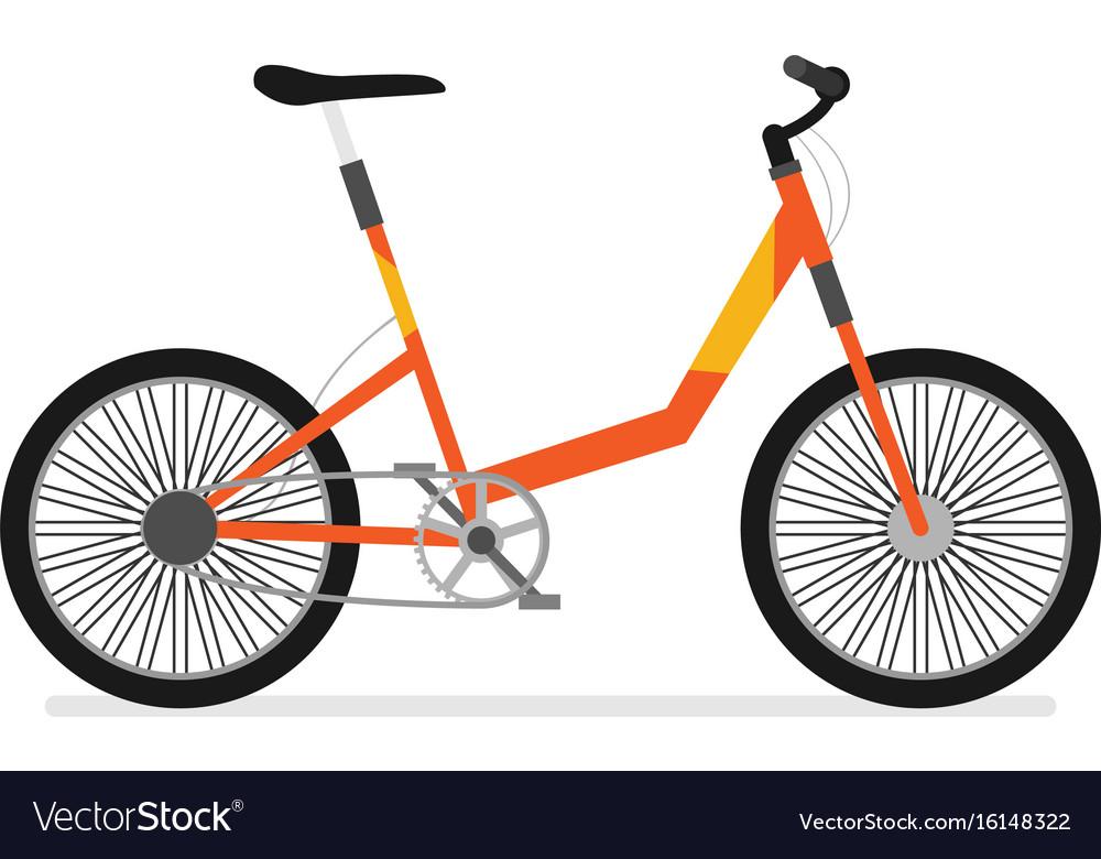 Flat bicycle isolated on white background