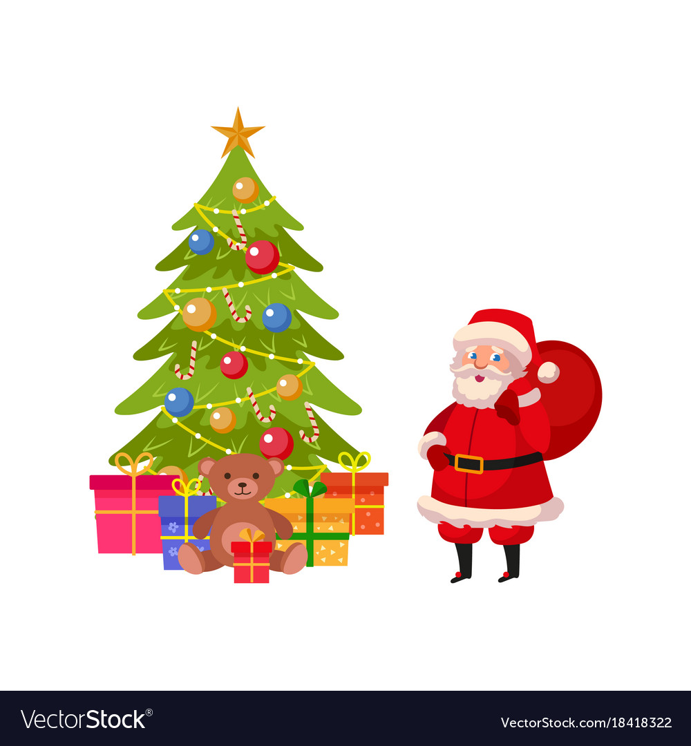 Funny Santa And Christmas Tree With Many Presents Vector Image