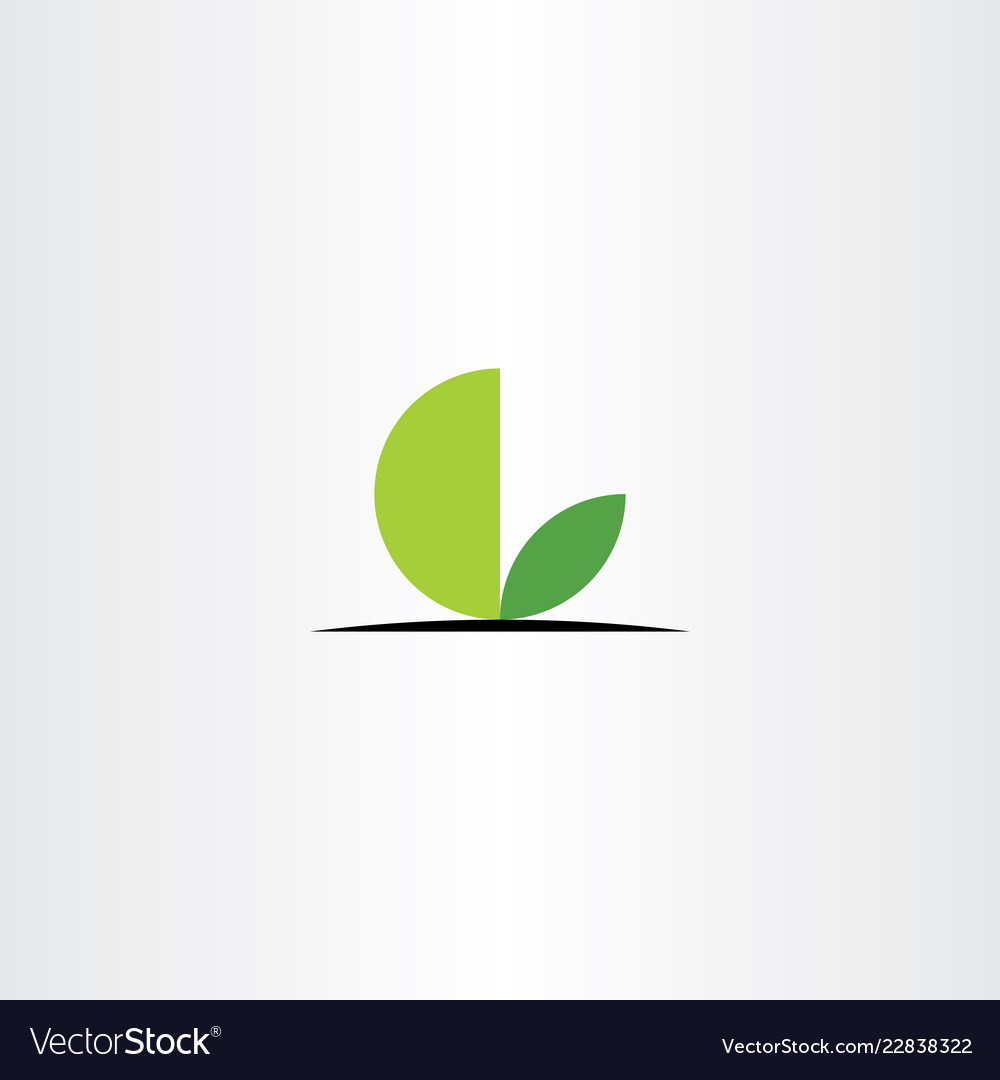 Green leaves l logo letter circle icon