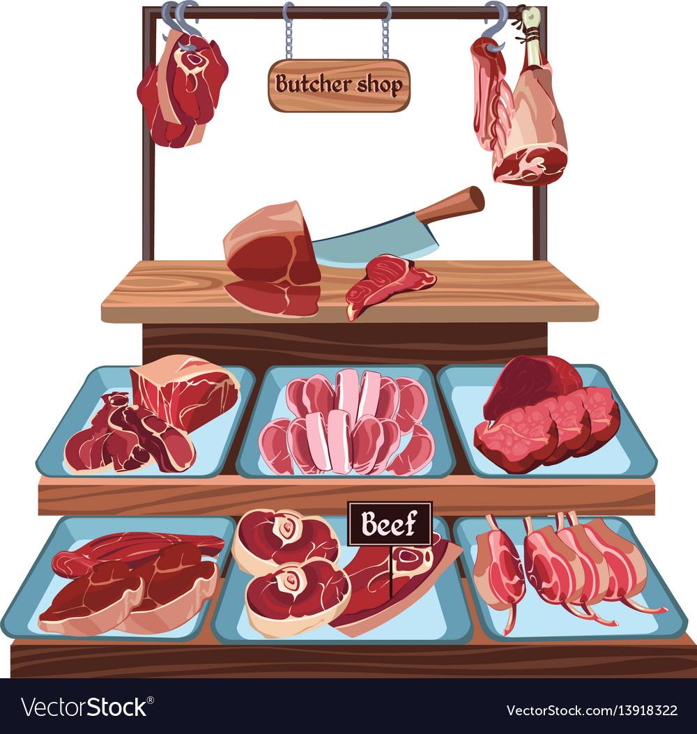 Hand drawn butcher shop concept