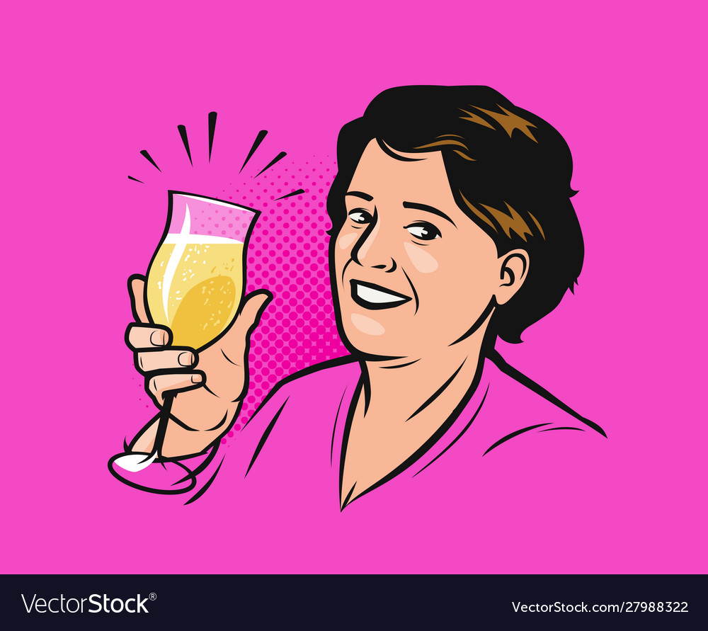 Happy woman with a glass champagne