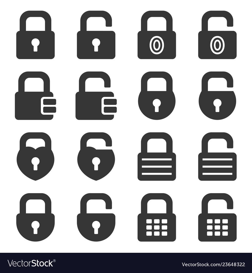 Lock icons set on white background