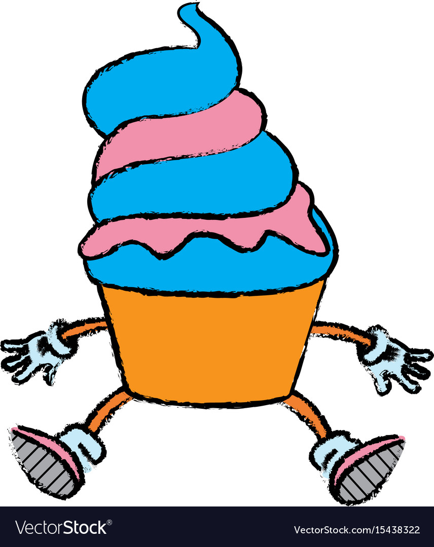 Mascot of an ice cream in cone frozen sweet