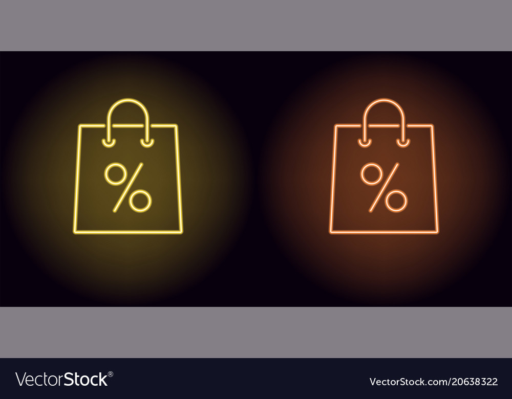 Neon shopping bag in yellow and orange color