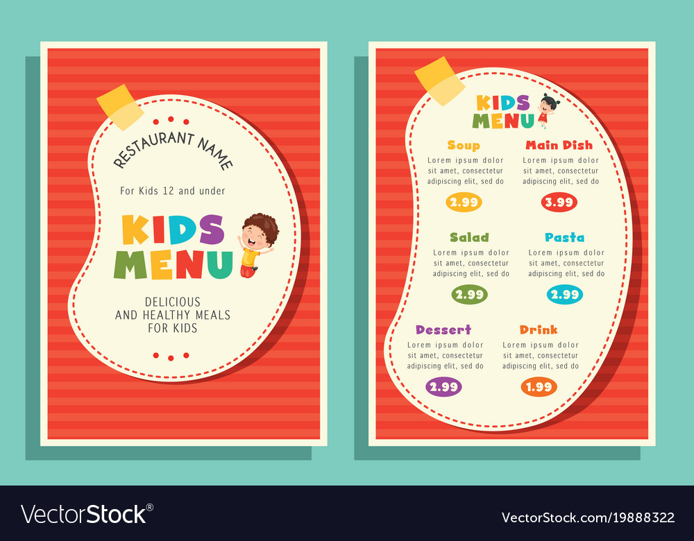 of kids menu template royalty free vector image