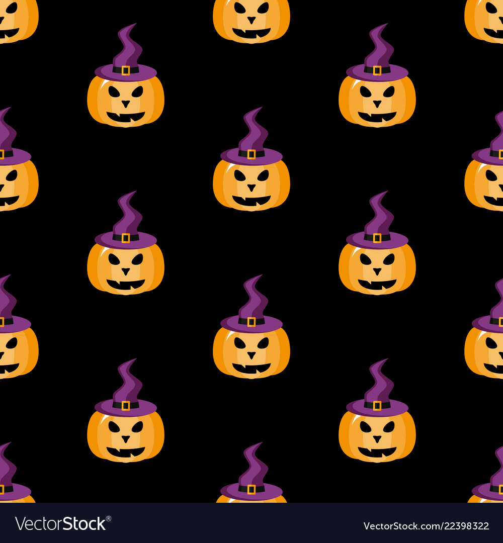 Pumpkin in a witch hat halloween pattern