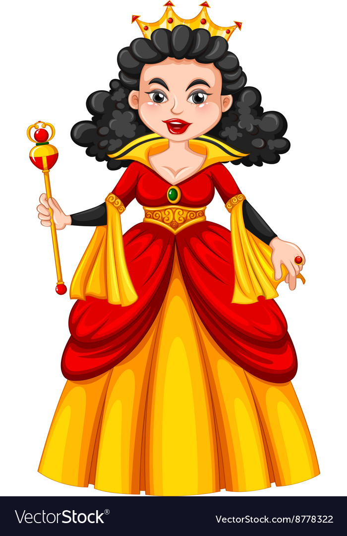 Queen in red and yellow dress vector image