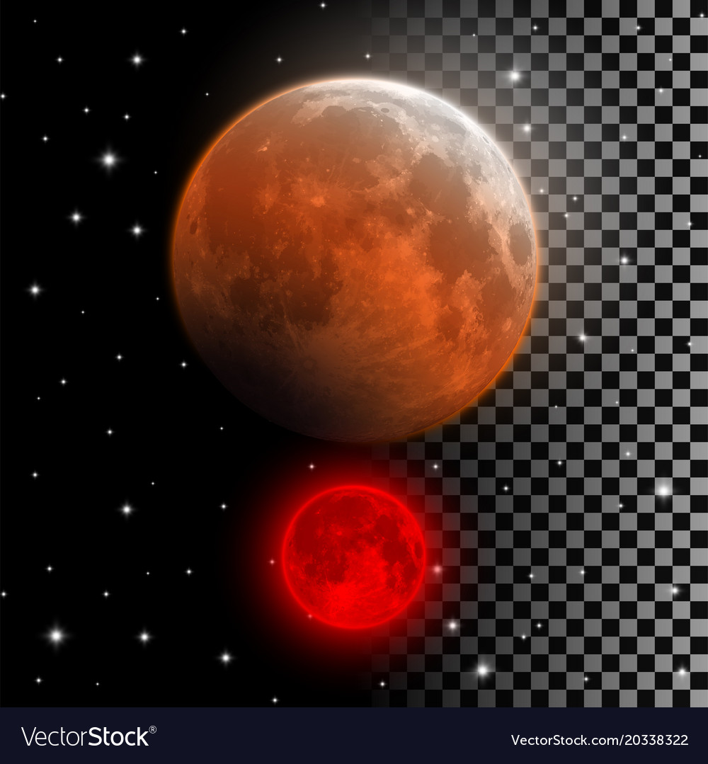Realistic blood moon red and orange full moon
