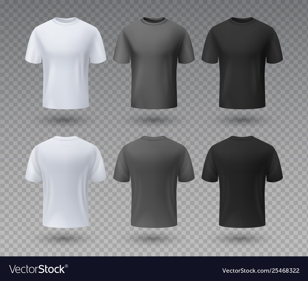 2e79d9f14 Realistic male t-shirt white and black mockup Vector Image