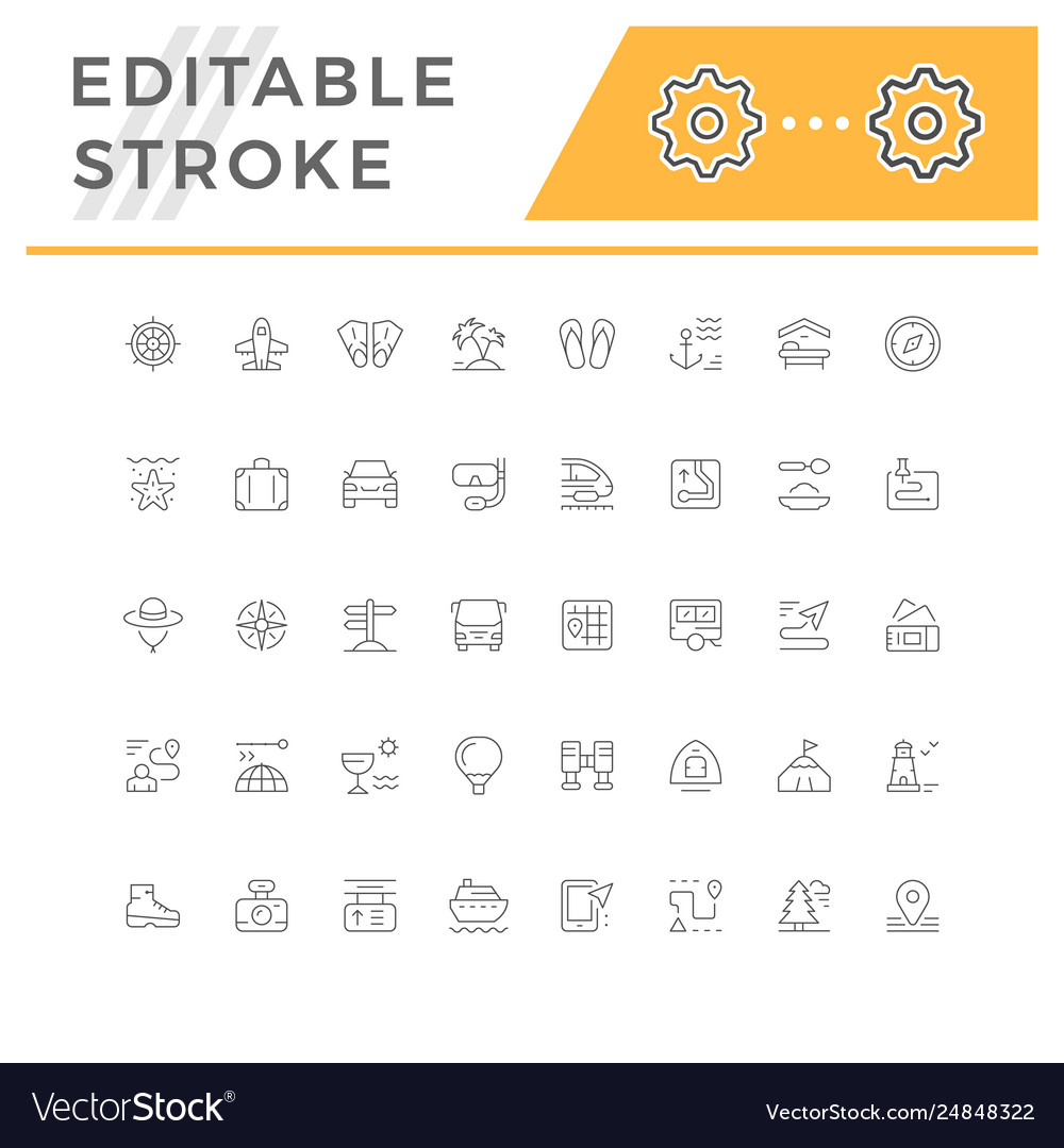 Set line icons travel vector