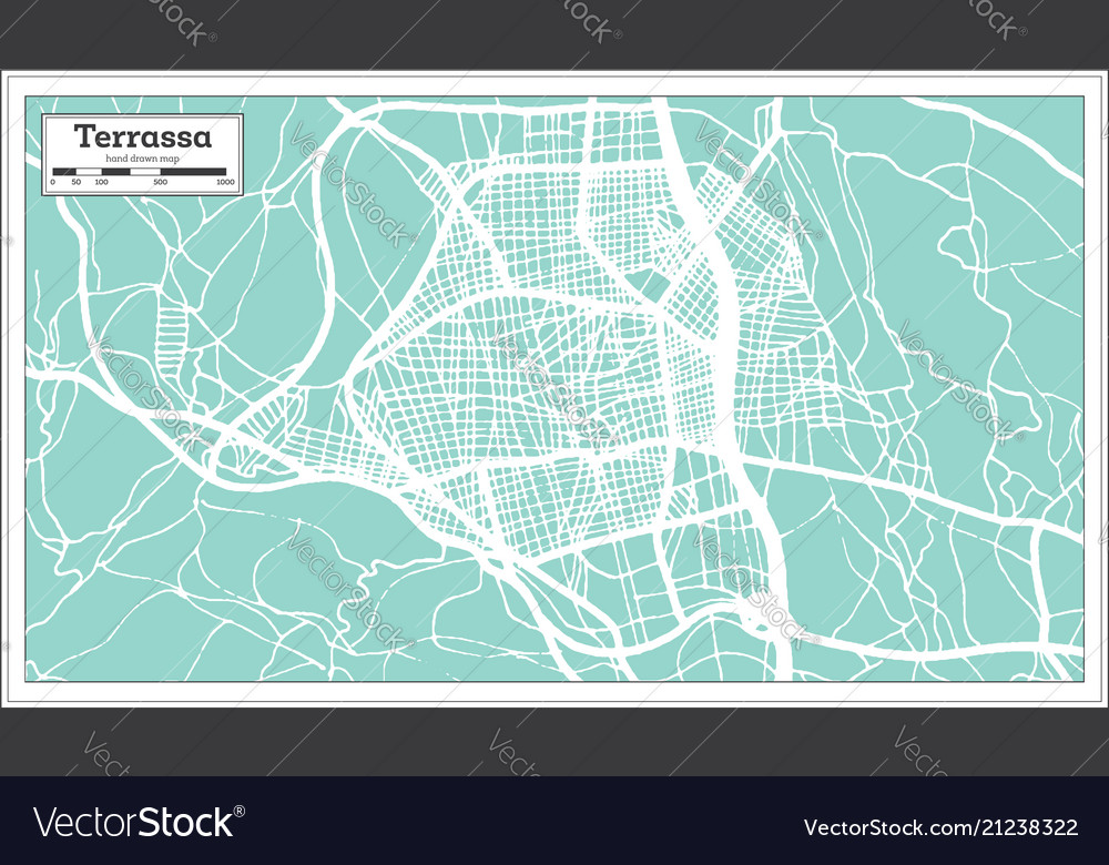 Terrassa Spain City Map In Retro Style Outline Map