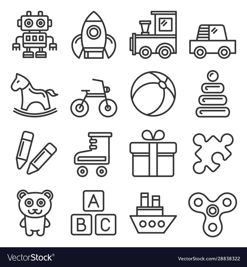 Toys icons set on white background line style