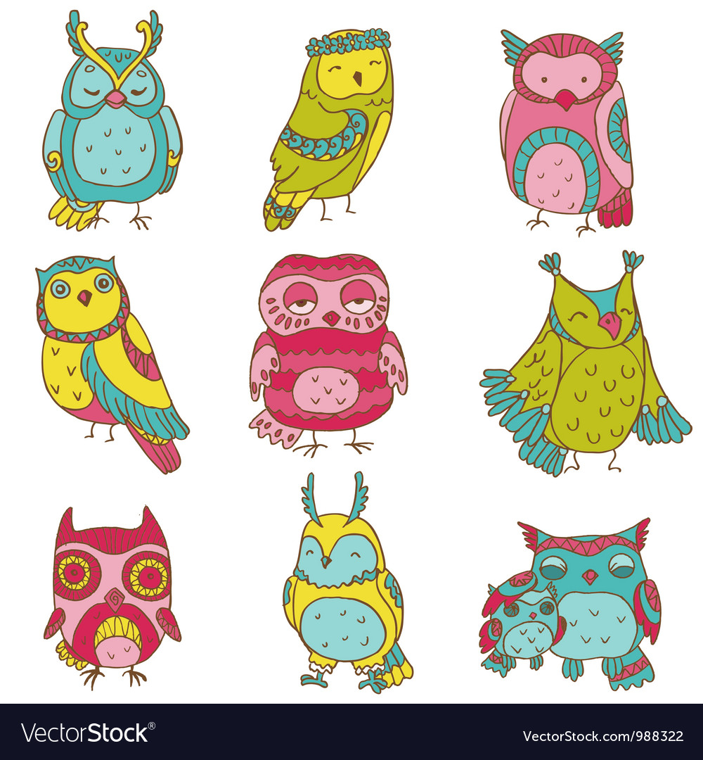 Various Owl Doodle Collection