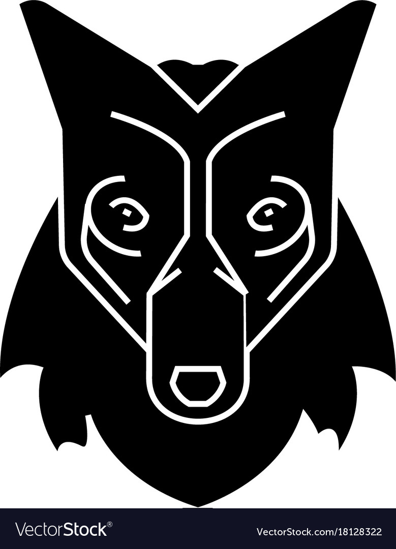 Wolf head icon sign o