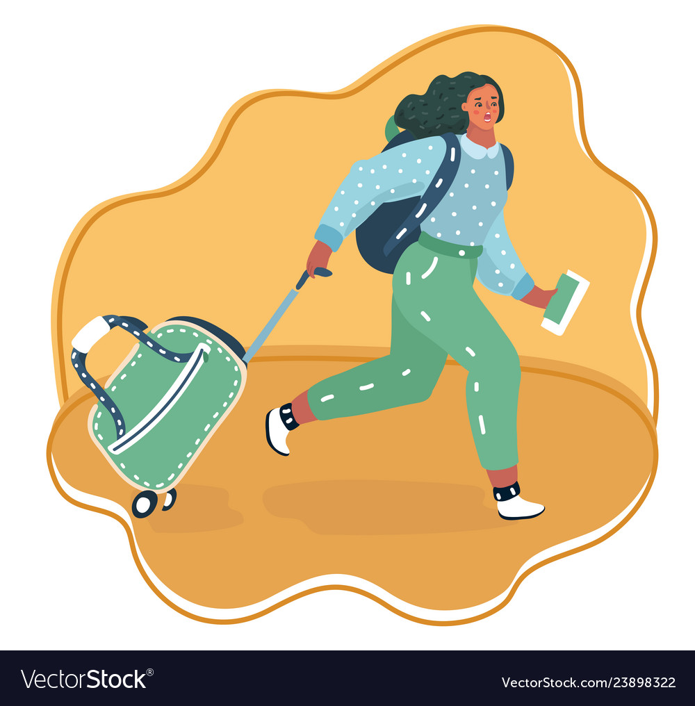 Woman running with a suitcase cart