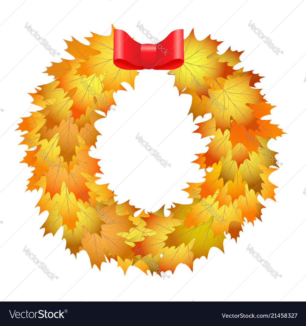 Autumnal round frame wreath of autumn leaves