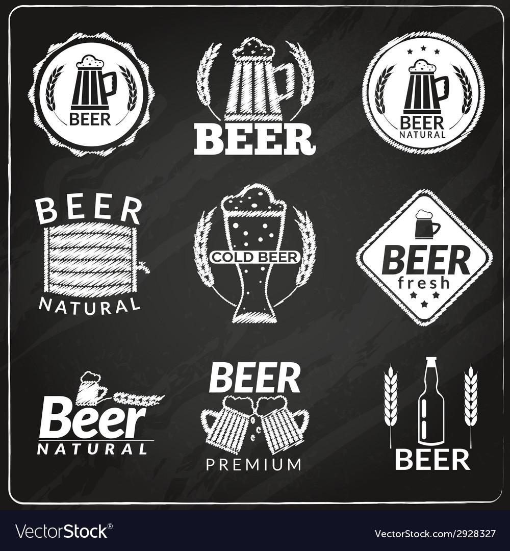 Beer chalkboard emblems