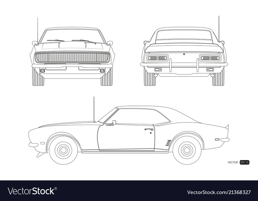 blueprint of retro car american automobile vector image