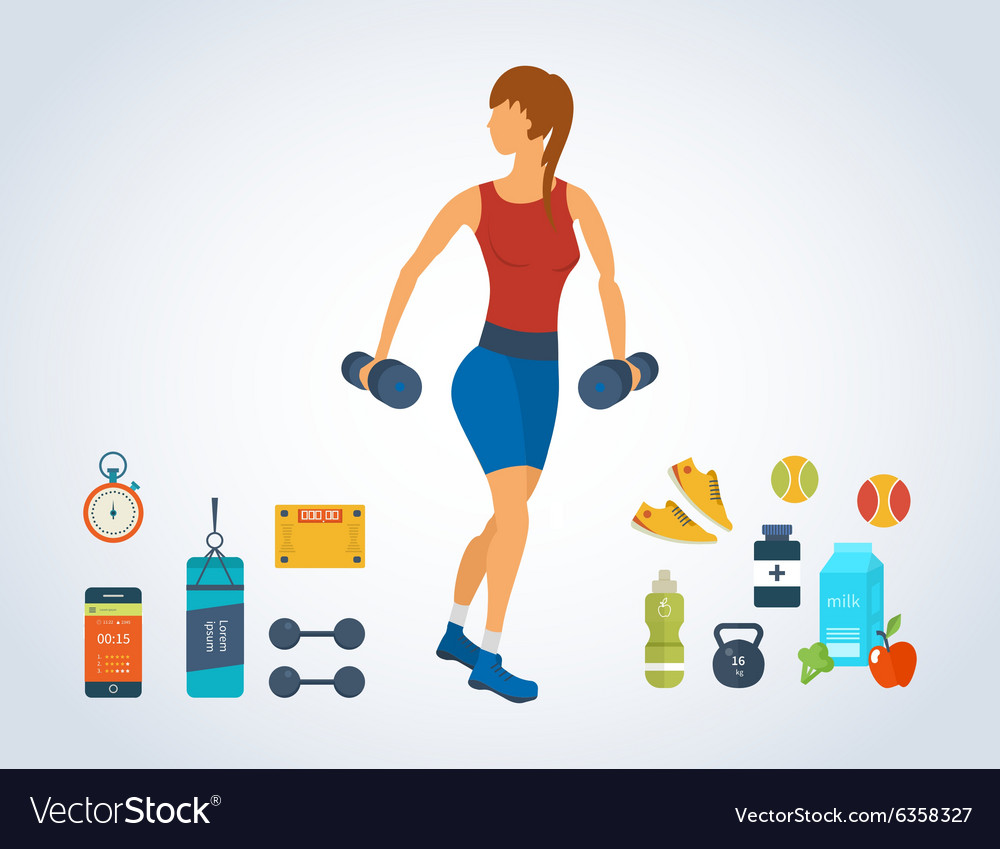 Cartoon of a woman exercising with