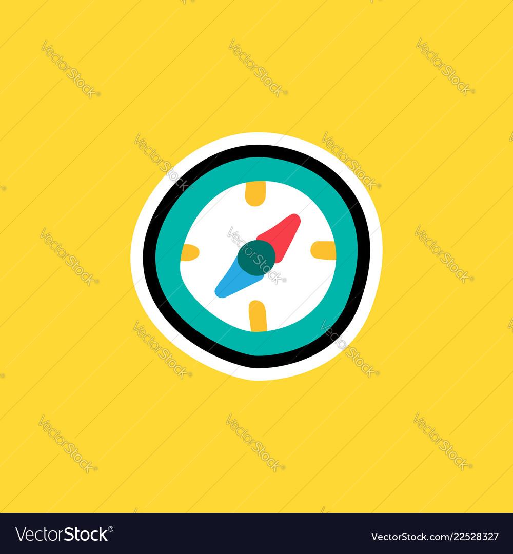 Cartoon sticker with compass