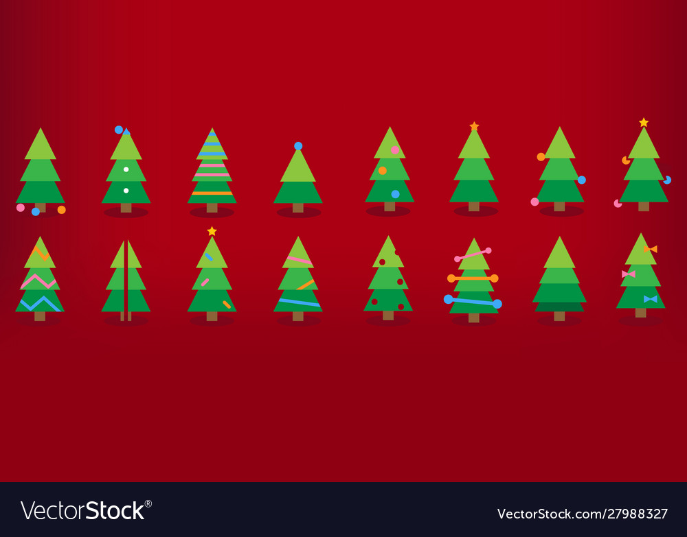 Colorful christmas trees with decorations red