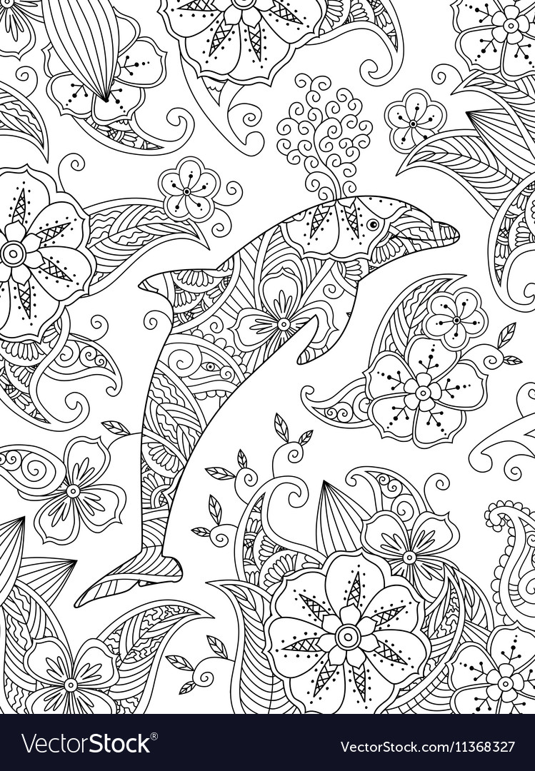 Coloring Page With One Jumping Dolphin On Floral Vector Image